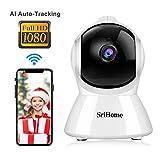 Caméra de Surveillance WiFi Intérieur, Srihome SH025 Caméra IP WiFi 1080P avec Détection de Mouvement, Audio Bidirectionnel...