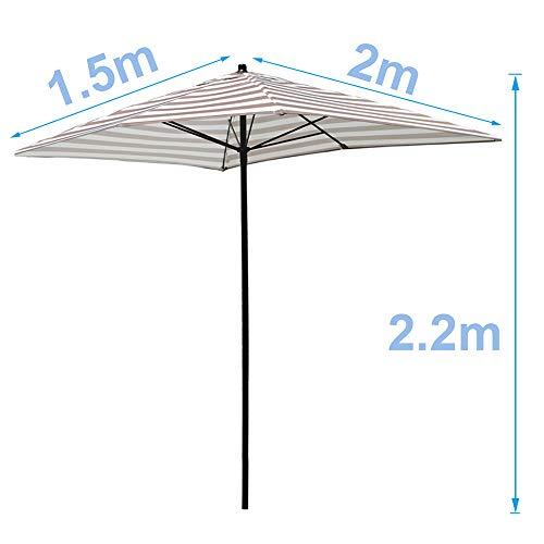 LDFZ 2 x 1,5 M/ 6,5 x 5 pies sombrilla de pie para jardín exterior de 6 lados, tejido de poliéster impermeable, antirayos UV y elegantes.