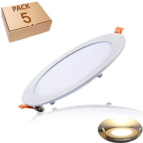 Yafido 5er Led Panel Ultraslim Einbauleuchte 12W ersetzt 70W Halogen 3000K 960 Lumen Rund Spot Deckenlampe 230V Flach Einbaustrahler mit Teriber Nicht-dimmbar Ø170 x 11mm