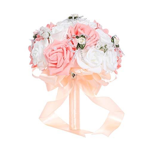 TwoCC Braut Hochzeit Blumensträuße Kreative Hochzeit Liefert Hand, Die Gefälschte Blumensträuße Roses Pearl Brautjungfer Hochzeitsstrauß Braut Kunstseidenblumen