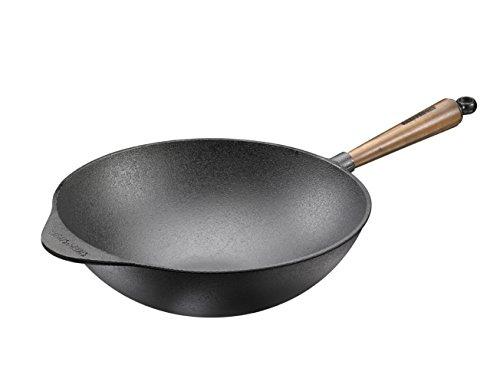 Skeppshult | 0875V | Gusseisen Wokpfanne | Durchmesser 32cm | Mit Walnuss Holzgriff | Farbe: Schwarz