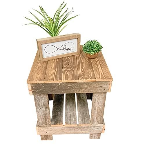 Del Hutson Designs - Rustic Barnwood End Table, USA Handmade Reclaimed Wood (Natural)