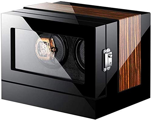 Cajas Giratorias para Relojes 2 + 0 Automatic Watch Winder Madera De Control Remoto De La Pantalla Táctil De Rotación Devanaderas Deluxe Silencioso Motor Pine Box, LED De Luz Ambiental-28.2x21.9x22CM