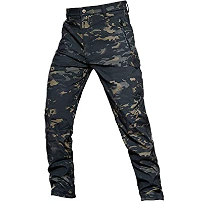 ANTARCTICA Men's Winter Fleece Lined Softshell Tactical Pants for Ski Snowboard Outdoor with Multi Pockets Dark Camo