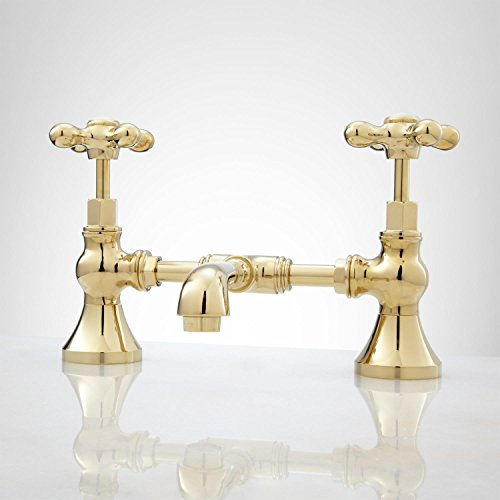 Signature Hardware 918022 Monroe Bridge Bathroom Faucet with Metal Cross Handles and Pop-Up Drain Assembly