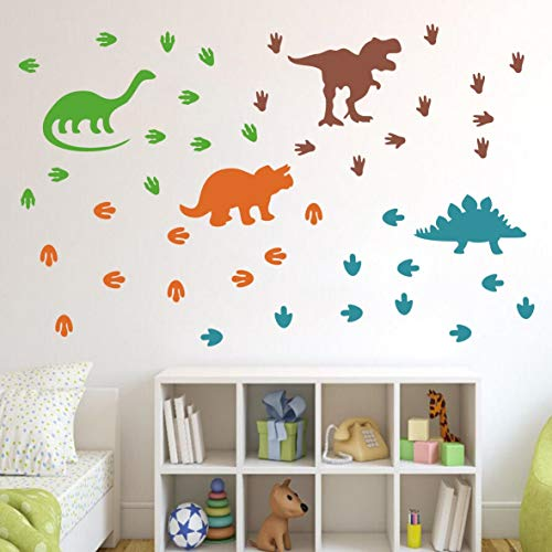 Dinosaurs Wall Decal Dinosaur Footprints&Tracks Stickers Vinyl Wall Art for Boys&Girls Kids Bedroom Nursery Room Wall Decor Murals AG01 (4 Colors Mix)