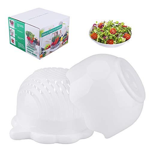 AIBSI Cutter Bowl, 3 in 1 Fast Fresh Salad Maker Multifunction FDA Approved Vegetable Lettuce Chopper,Easy Fruits Slicer, Best Kitchen Gift Set for Women Men, White