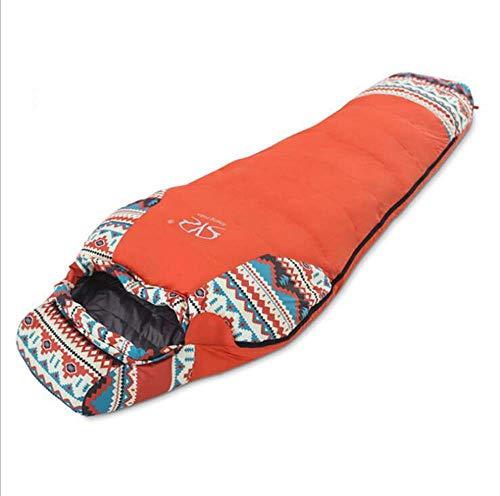 CATRP-Sac de couchage Momie, Sac de Camping Ultra léger en Plein air, équipement de Camping Adulte (Color : Orange)