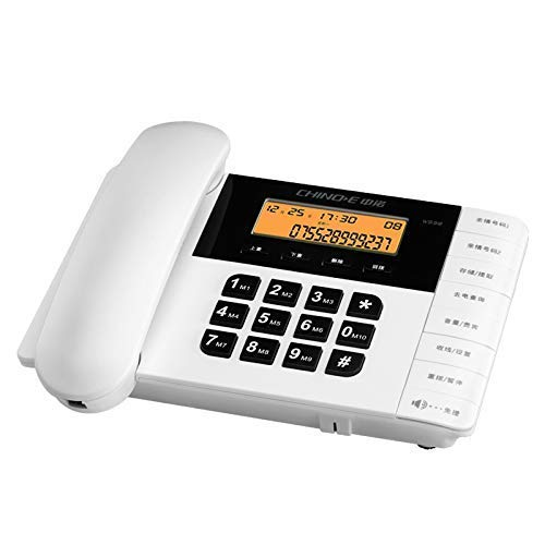 Teléfono de estilo retro / Teléfono residencial Teléfono fijo Teléfono con cable de hotel Manos libres Desvío de llamadas Acceso doble Puerto de ajuste de brillo LCD Marfil Blanco (Color: Marfil Blan