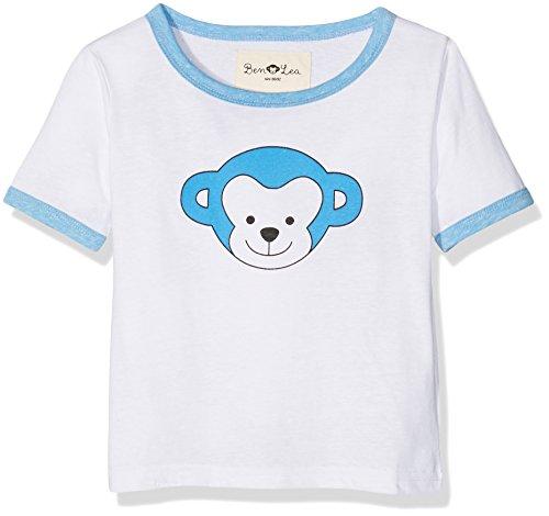 Ben & Lea Kinder T-shirt mit Print, Weiß (Weiß/Hellblau 032), 98 (Herstellergröße: 98/104)