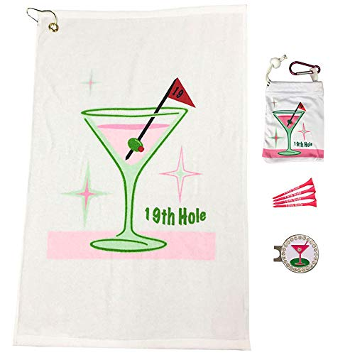 Giggle Golf Par 3 - Golf Towel, Tee Bag with 4 Tees, and Bling Ball Marker with Hat Clip - Perfect Golf Gift for Women