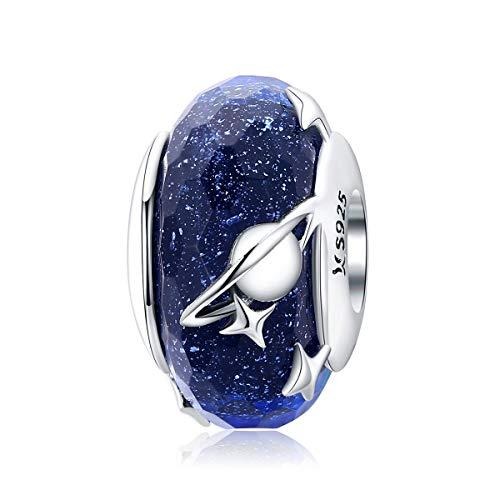Murano Glass Bead Sterling Silver Core Charms For Pandora Charm Bracelets (Stars Earth Charm)