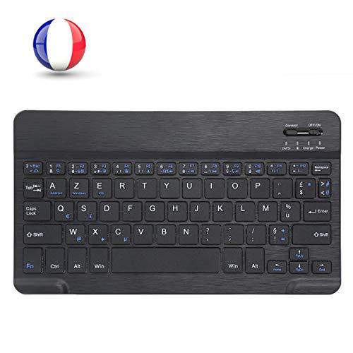 MINLIDAY Clavier Bluetooth AZERTY Français Rechargeable pour iOS Android Windows Tablette PC Laptops