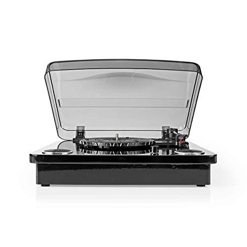 Nedis - Platenspeler - 18 W - Bluetooth - USB-Conversie - Cover - Ingebouwde speakers 2x 9 W - Snaaraandrijving - 2x RCA Female, 1 x 3.5 mm uitgang - 1x USB ingang - Toerental 33, 45 of 78 rpm - Zwart
