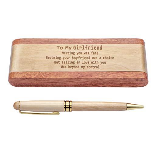 Estuche de madera grabada, bolígrafo clásico con estuche 100% hecho a mano, ideas de regalo de cumpleaños de Navidad para hijo hija de papá (StyleZ01-para novia)