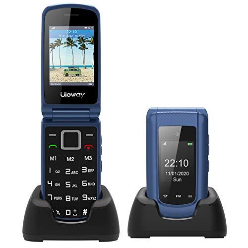 3G Simlockfreie Seniorenhandy Klapphandy ohne Vertrag,Großtasten Mobiltelefon SOS Notruffunktion,Aussendisplay,Taschenlampe,FM RadioDual-SIM 2.4 Zoll Display Einfach Handy für Senioren (Blau).