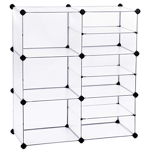 "SONGMICS Cube Storage Organizer, Interlocking Plastic Cubes with Divider Design, Modular Cabinet, Bookcase for Closet Bedroom Kid's Room, Includes Rubber Mallet, 32.7""L x 12.2""W x 36.6""H White ULPC36W"