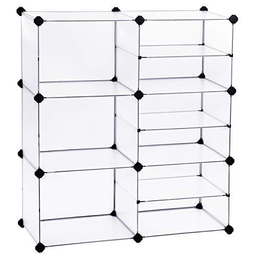 SONGMICS Cube Storage Organizer, Interlocking Plastic Cubes with Divider Design, Modular Cabinet, Bookcase for Closet Bedroom Kid's Room, Includes Rubber Mallet, 32.7'L x 12.2'W x 36.6'H White ULPC36W