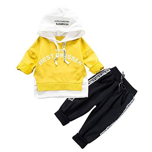 Ensembles Bébé Fille Bébé Garçon Sweat-Shirts à Capuche T-Shirts, Tops et Chemisiers Letter Cartoon + Pantalons 2Pcs Set Sportswear Vêtements pour Enfants