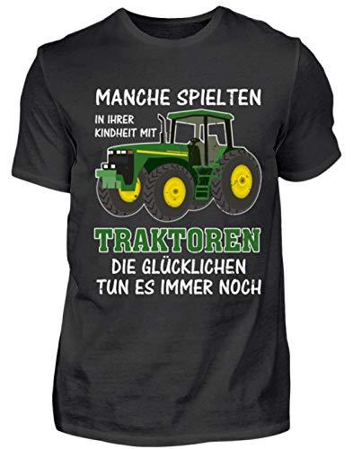 Traktor Landwirt Kindheit Witziger Spruch Landwirtschaft Trecker Bauer Geschenk - Herren Shirt -M-Schwarz