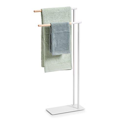 Zeller Handtuchständer, Weiß/Natur, 38,5 x 15 x 84 cm