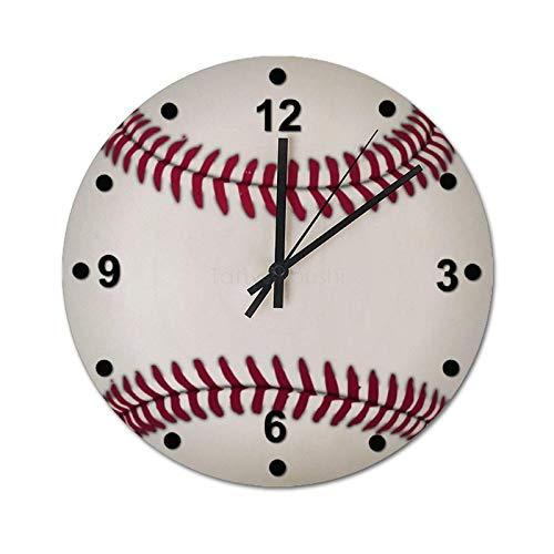 Reloj de Pared Decorativo, Estilo rústico Industrial Vintage, decoración del hogar para Sala de Estar, fanáticos del béisbol, Relojes de PVC, Redondo de 25 cm