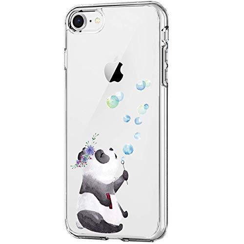 Carcasa para Apple iPhone SE (2020) funda transparente suave silicona gel TPU Clear iPhone SE 2020 protectora Case Panda elefante modelo ultra fino flexible antigolpes 3 S