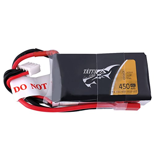 TATTU 450mAh 11.1V 3S1P Lipo Battery Pack 45C with JST Plug for Small Size FPV Blade Torrent 110Baby Hawk Micro 2E-flite 180CFX