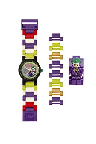 Lego Batman 8020851 The Joker Kids Minifigura Link Buildable Reloj | Púrpura/Verde | Plástico | 27.5mm Diámetro de la Caja | Cuarzo analógico | Niño Niña | Oficial