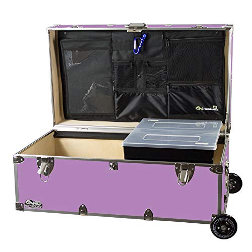 C&N Footlockers Happy Camper Trunk with Wheels, LidMate Organizer, and Tray - Durable Storage Chest - 32 x 18 x 13.5 Inches (Lilac)