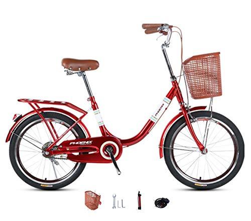 Bicicletas para Damas Bicicleta Ligera para jóvenes, Hombres y Mujeres, para Estudiantes, Bicicletas de una Velocidad, para Adultos, desplazamientos Diarios, 20 Pulgadas, 24 Pulgadas, Bicicleta