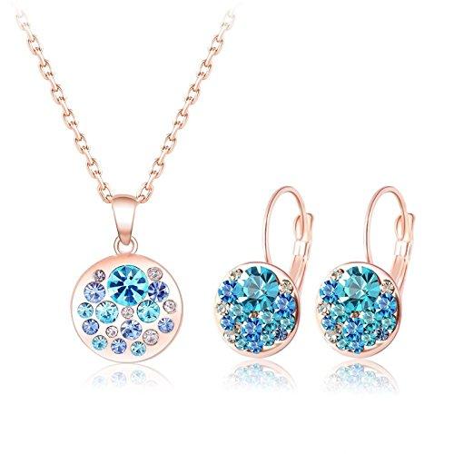 KnSam - Juego de 2 Piezas para Mujer Juego de Collar y Pendientes de 18 Quilates de Oro Rosa Chapado en Oro Azul, Colgante de Cristal, Regalo para el Día de la Madre, bisutería