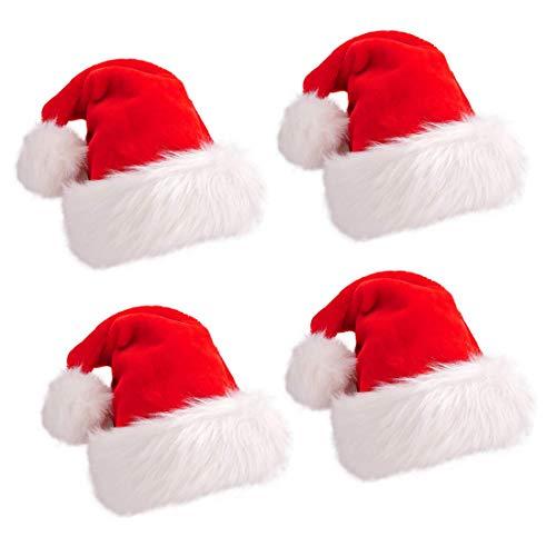 Cappello di Natale Cappello da Festa di Natale Addensare Rosso e Bianco Cappello da Babbo Natale per la Festa in Costume di Natale e l'evento di Festa