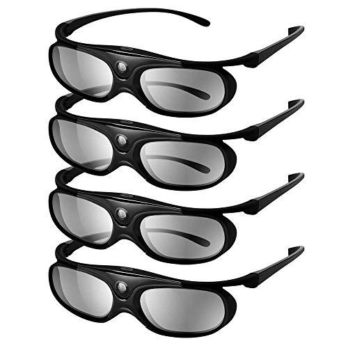 Elikliv JX60 3D Glasses 4 Pack, Rechargeable 3D Active Shutter Glasses Compatible with Epson 3D Projectors, TDG-BT500A TDG-BT400A TY-ER3D5MA TY-ER3D4MA, Sony, Panasonic, Samsung 3D Blue Tooth TVs