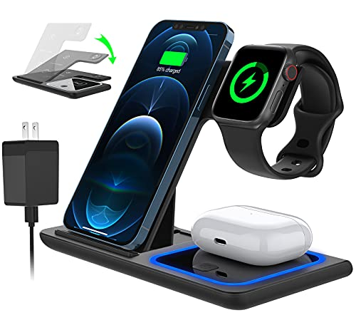 FCOOL Foldable Wireless Charger, 3-in-1 Wireless Charging Station, 15W Fast Charging Pad Compatible with Apple Watch...