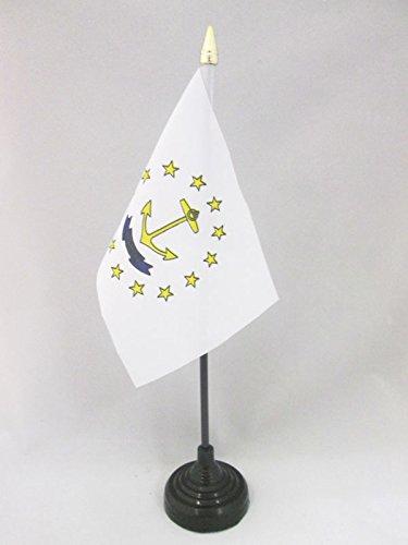 AZ FLAG TISCHFLAGGE Rhode Island 15x10cm goldene splitze - B&esstaat Rhode Island TISCHFAHNE 10 x 15 cm - flaggen