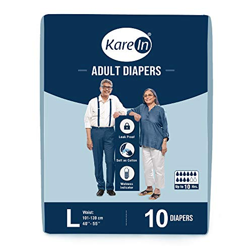 """Kare In Adult Diapers Large 10 Count, Waist Size 101-139cm (40""""-55"""")"""