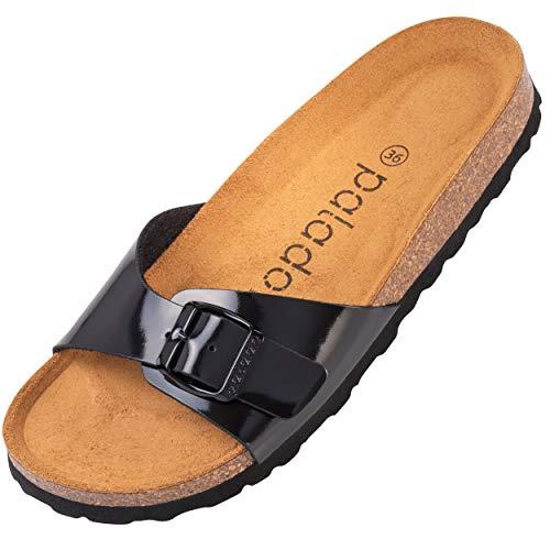 Palado® Damen Sandale Malta | Made in EU | Pantoletten in vielen sommerlichen Farben | 1-Riemen Sandaletten mit Kork-Fussbett | Frauen Hausschuhe mit Leder-Laufsohle Basic Lack Schwarz 36 EU