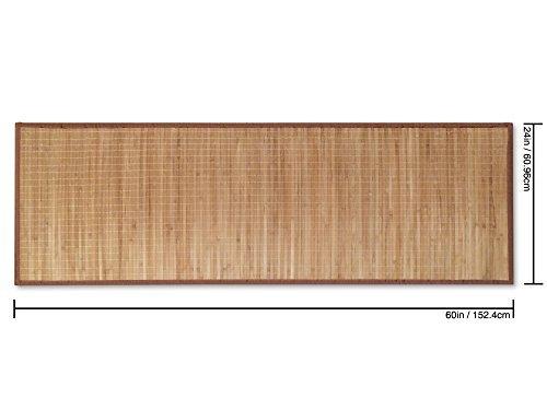 Bambú non-de deslizamiento estera del piso, beige, marrón borde de