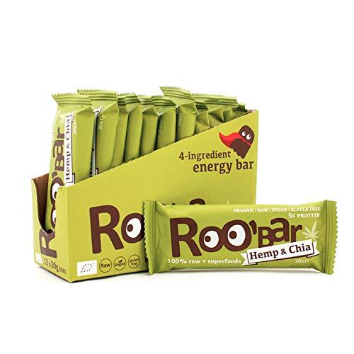 Roobar Proteinriegel Hanf – Milchfrei & Glutenfrei, 100{e92bfe2dd43f0cf8303431dc2e404253dda458480302c10a0926372010122ead} Bio, Vegan, Roh, Superfoods für eine optimale Ernährung, Ohne Zusatz von raffiniertem Zucker – 12 x 30g Rohkostriegel