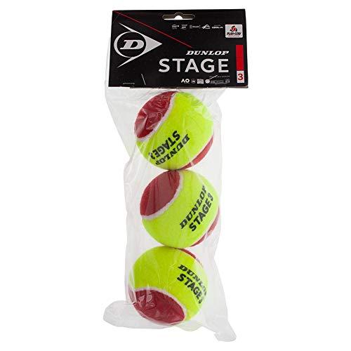 Dunlop 601340 Palla da Tennis Stage 3, Red, 3 Ball Polybag, 31 x 13,5 x 7 cm