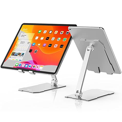 BoYata iPad スタンド タブレット スタンド iPad pro12.9 スタンド スマホスタンド 携帯ホルダー 縦置き 横置き 落下防止 滑り防止パッド 安定性 軽量 折りたたみ式 アルミ製 7-12.9インチのデバイスに対応 シルバー