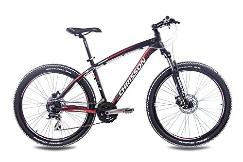 CHRISSON 26 Zoll Mountainbike Hardtail - Altero 1.0 schwarz - Hardtail Mountain Bike mit 24 Gang Shimano Acera Kettenschaltung - MTB Fahrrad für Herren und Damen Suntour Federgabel - 2