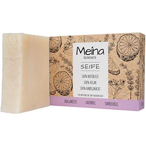Meina Naturkosmetik - Seife mit Bergamotte, Lavendel und Sandelholz (1 x 100 g) Palmölfrei, Natürlich, Vegan, Handgemacht, Bio Naturseife - Körperpflege und Gesichtspflege