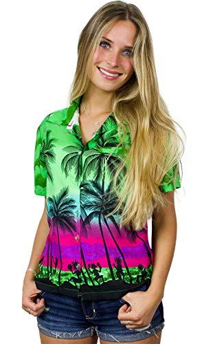 King Kameha Funky Hawaiian Blouse Shirt, Shortsleeve, Beach, Green, XL