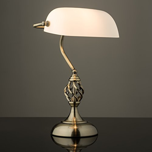 Kingswood Barley Twist Traditional Bankers Lamp - Antique Brass - Opal Glass - Desk/Table Lamp