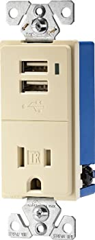 Eaton TR7740A-K Combination USB Charger with Tamper Resistant Receptacle 2-Pole 3-Wire Grounding Almond