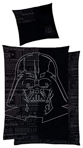 P.K. Textilien Star Wars Baumwoll - Satin Wende Bettwäsche 135x200cm 2 TLG. Darth Vader Silberdruck