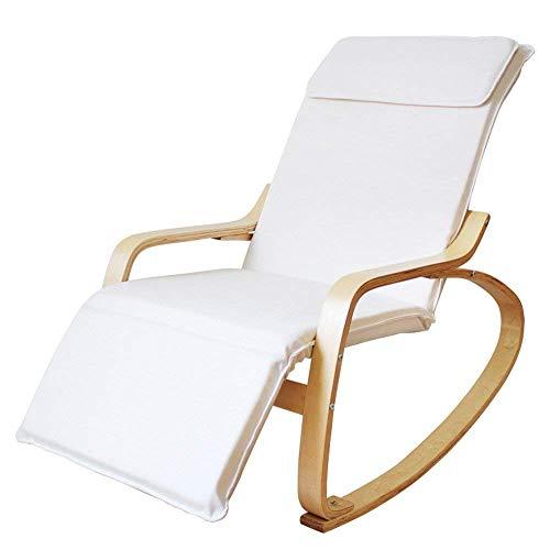 QTQZHH schommelstoel voor volwassenen balkon recreatieve bank nostalgische stoel stoel Noord-Europa massief hout Lazy schommelstoel (kleur: waterdicht - wit)