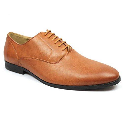 New Men's Plain Round Toe Dress Shoes Lace up Oxfords By Azar (7.5 U.S (D) MEDIUM, COGNAC)